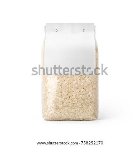 Rice in transparent plastic bag with white label isolated on white background. Packaging template mockup collection. With clipping Path included. Stand-up Front view. #758252170