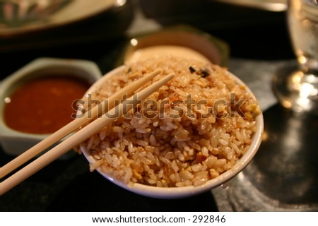 Rice, Japanese food, Chapsticks, rice bowl, oriental food