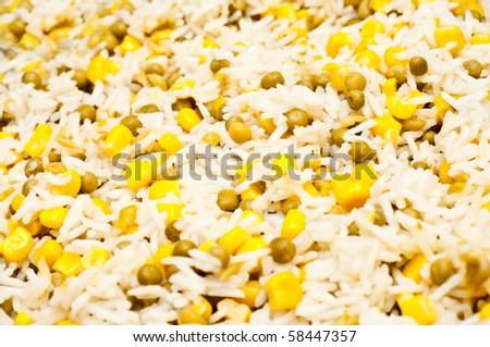 rice mixed with peas and sweetcorn