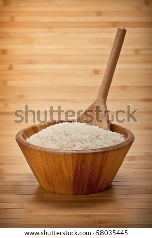 Rice on bowl and wooden spoon