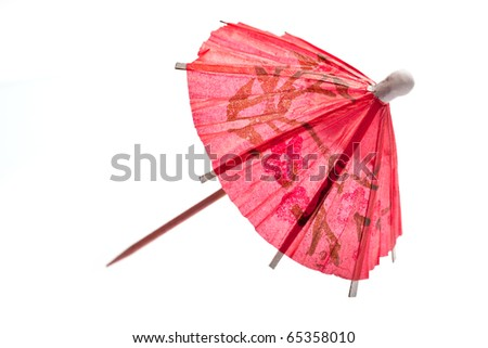 Rice paper umbrella decoration for cocktail glass, isolated