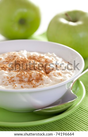 rice pudding in a bowl closeup - stock photo