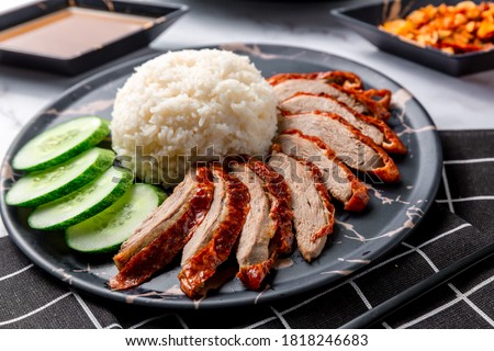 Rice roasted duck with sauce. Roasted duck topping on thai rice, Roasted bbq duck with gravy sauce on top of rice on background. roasted duck with rice. Chinese food