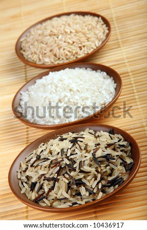 Rice set detail view with brown plate plate