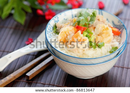 Rice soup with prawn and mince pork