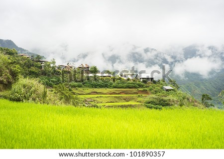 Rice terrace and village in Cordillera mountains, Philippines
