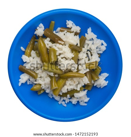 rice with asparagus beans on a blue  plate isolated  on white background .healthy food . vegetarian food top view. Asian cuisine