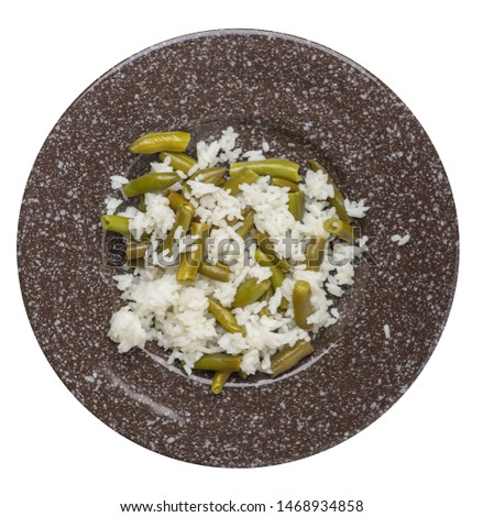 rice with asparagus beans on a brown with a marble crumb   plate isolated  on white background .healthy food . vegetarian food top view. Asian cuisine