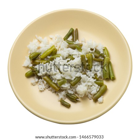 rice with asparagus beans on a light brown plate isolated  on white background .healthy food . vegetarian food top side  view. Asian cuisine