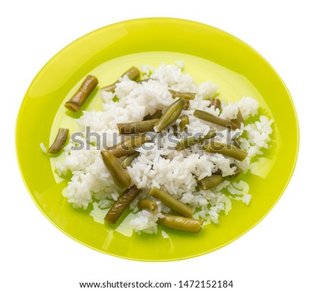 rice with asparagus beans on a lime  plate isolated  on white background .healthy food . vegetarian food top side  view. Asian cuisine