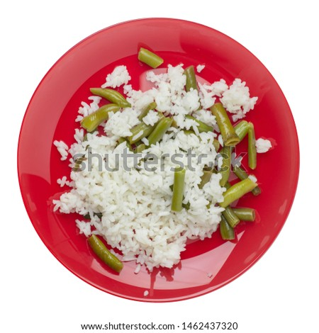 rice with asparagus beans on a red  plate isolated  on white background .healthy food . vegetarian food top view. Asian cuisine