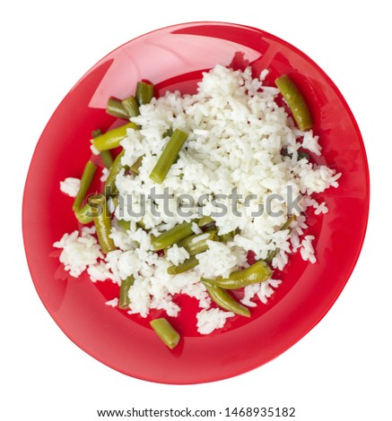 rice with asparagus beans on a red plate isolated  on white background .healthy food . vegetarian food top side  view. Asian cuisine