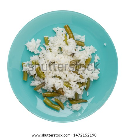 rice with asparagus beans on a turquoise plate isolated  on white background .healthy food . vegetarian food top view. Asian cuisine