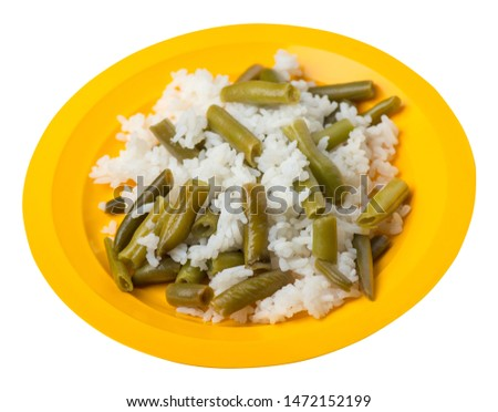 rice with asparagus beans on a yellow  plate isolated  on white background .healthy food . vegetarian food top side  view. Asian cuisine