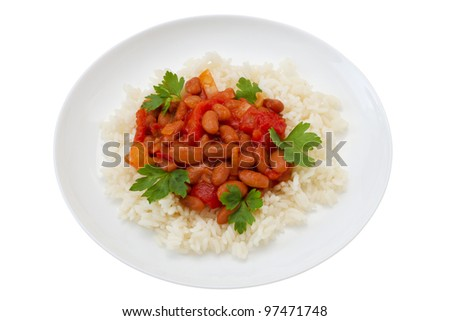 rice with beans with tomato sauce