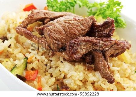 Rice with Beef, Cabbage, Mushrooms and Paprika