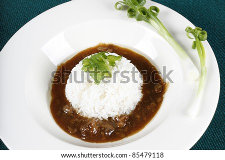 rice with chicken, Rice with chicken in sticky soup, chinese style.