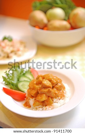 Rice with Chicken Stew Plate