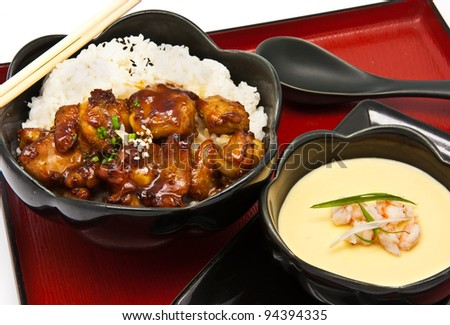 Rice with Chicken Teriyaki and Chinese Steam egg on white background