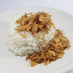 Rice with fried shallots, cheapest food in indonesia