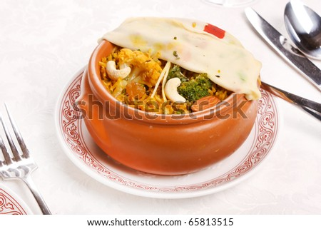 rice with nuts - stock photo