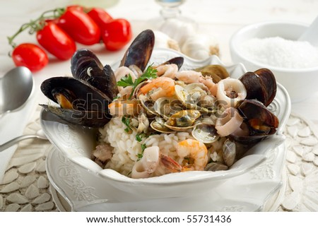 rice with sea fruits