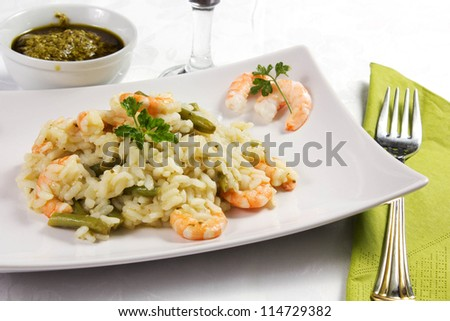 rice with shrimp and beans on the table