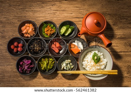 Rice with Soup Stock(with food such as dried fish, pickled vegetables or other seasonings )japanese food(ochazuke)