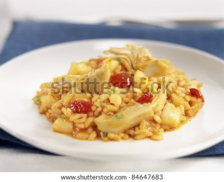 Rice with squid and artichokes