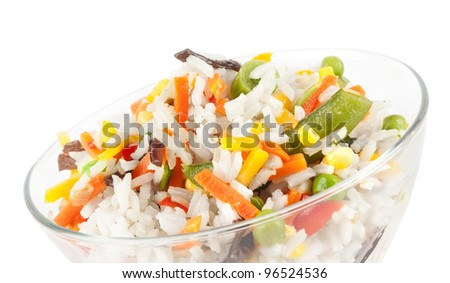 rice with vegetables isolated on white