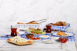 Rich and delicious Turkish, Greek breakfast at santorini