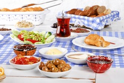 Rich and delicious Turkish, Greek breakfast at santorini.
