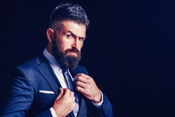 Rich bearded man dressed in classic suits. Elegance casual dress. Fashion suit. Luxury mens clothing. Man in suit. Businessman confidence. Classical costume. Mans Fashion