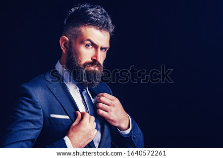 Rich bearded man dressed in classic suits. Elegance casual dress. Fashion suit. Luxury mens clothing. Man in suit. Businessman confidence. Classical costume. Mans Fashion Stock photo ©