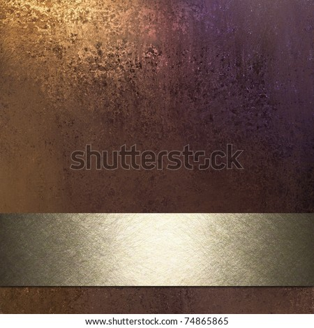 rich brown background in warm earth tones with rusty golden lighting, muddy grunge texture, silvery golden ribbon stripe with bright highlight in middle, and copy space to add your own text or title