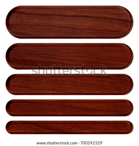 Rich brown wood grain patterned set of rounded corner oval rectangle banner design elements in a 3D illustration with a dark wooden finish texture isolated on a white background with clipping path.