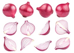 Rich collection of delicious red onion whole bulbs and pieces, isolated on white background