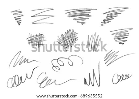 Rich collection of various pencil strokes, isolated on white background #689635552