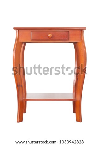 Rich color wood end table isolated on white.