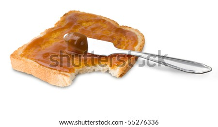 rich crispy toast with jam on white background