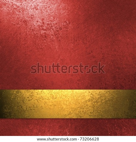rich deep red background with elegant faded grunge background texture, luxury style, holiday gold ribbon stripe for luxurious Christmas background decoration web template design or brochure layout - stock photo
