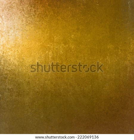 rich gold background with grunge texture border, light bright corner spotlight or sunshine pattern on wall. vintage shadow black frame design, old distressed shabby background layout