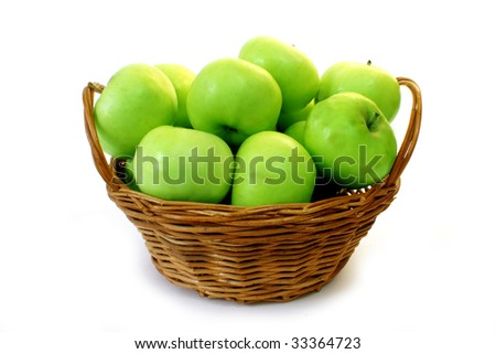 Rich harvest: basket with fresh green apples