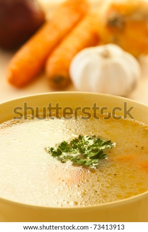 Rich healthy vegetable soup with noodles.