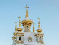 Rich in Orthodox church with gold domes. Fragment
