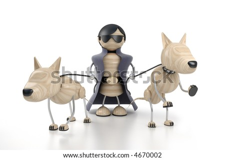 rich man and dogs. 3d model