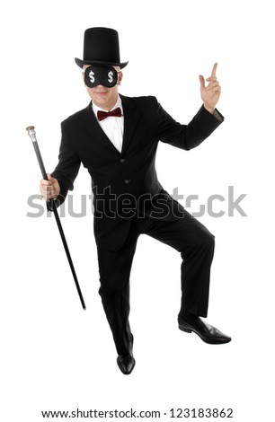 Rich man is dancing with US dollar signs on eyes - stock photo