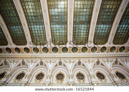 rich palace ceiling details in Bucharest parliament house