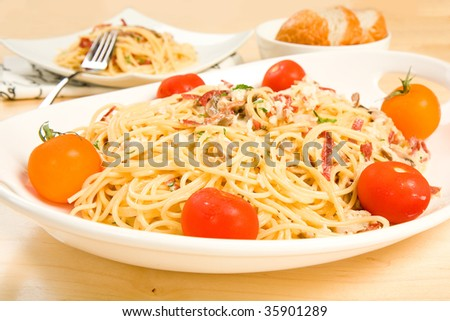Rich pasta carbonara with mushroom and crab
