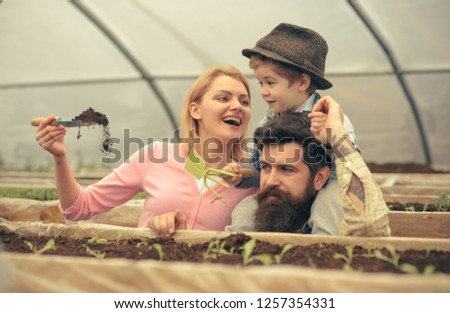 rich soil. happy family work in greenhouse with rich soil. rich soil for gardeners. rich soil for growing plants. small business owner #1257354331